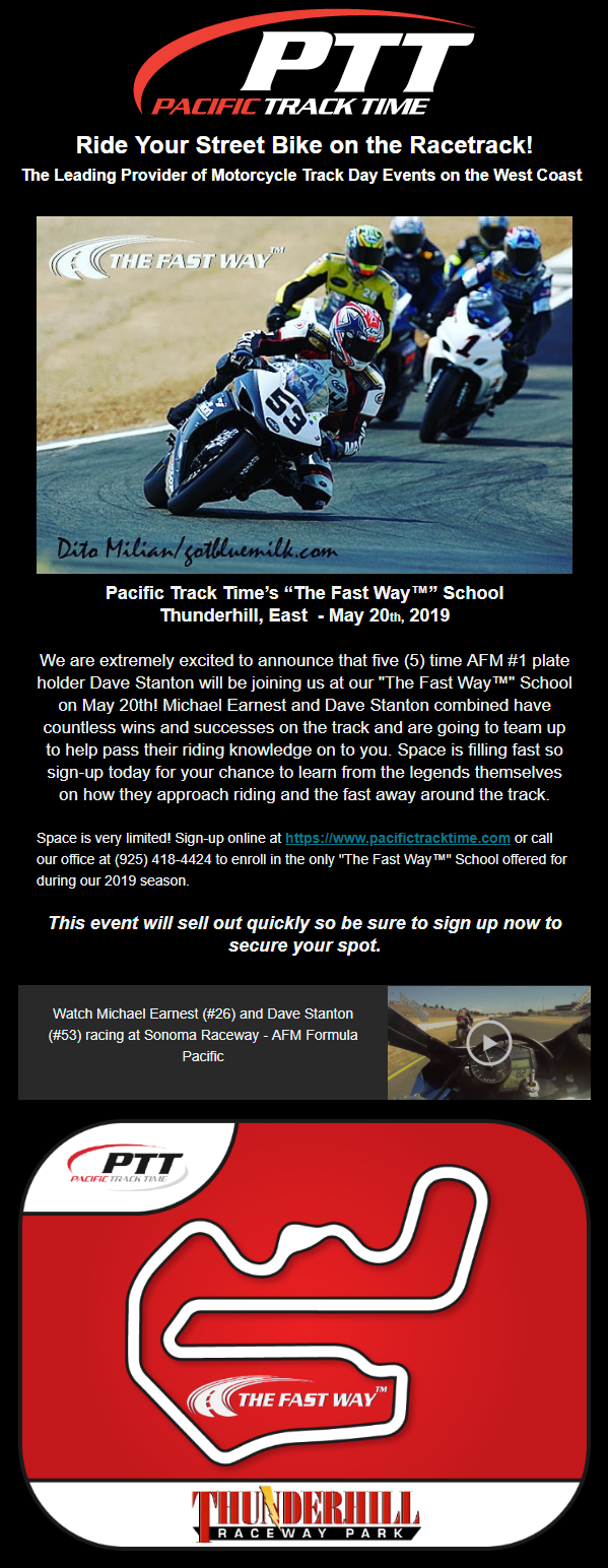 """Pacific Track Time's """"The Fast Way™"""" School w/Dave Stanton and"""